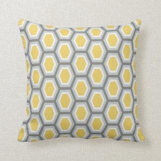 Gris blanco del amarillo del modelo del hexágono cojín decorativo
