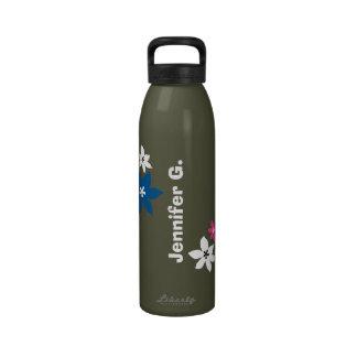 Gris conocido personalizado estampado de flores mo botella de beber