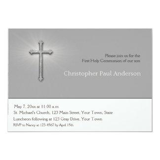 Gris de carbón de leña, cruz, invitación religiosa
