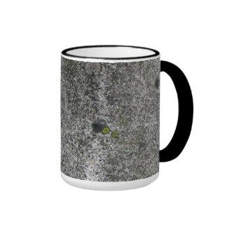 Gris de la roca del granito con el musgo verde taza a dos colores