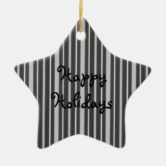 Gris de las telas a rayas 2 - buenas fiestas adorno de cerámica en forma de estrella