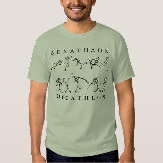 Gris del texto griego del atletismo del Decathlon Camisas