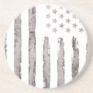 Gris del vintage de la bandera americana posavasos