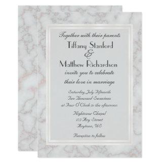 Gris e invitación de mármol color de rosa del boda