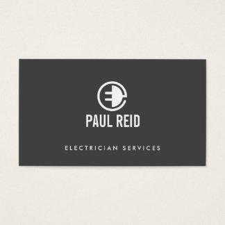 Gris moderno del logotipo del electricista tarjeta de negocios