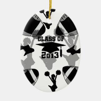 Gris negro del negro del fútbol 2013 adorno navideño ovalado de cerámica
