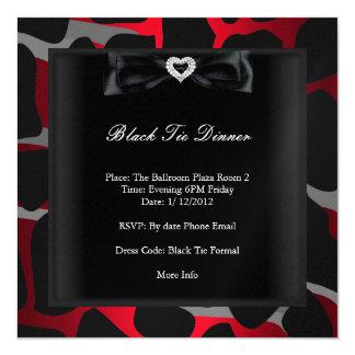 Gris negro rojo formal corporativo del lazo negro invitación 13,3 cm x 13,3cm