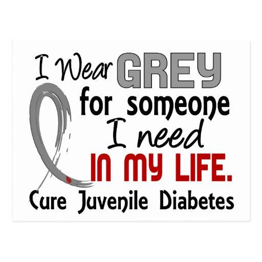 Gris para alguien necesito la diabetes juvenil postales