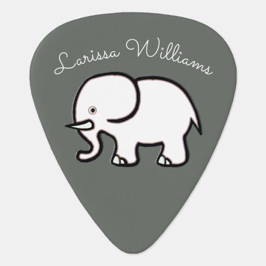 gris personalizado elefante lindo púa de guitarra