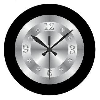 Gris plateados y negro elegantes reloj redondo grande