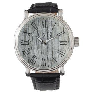 Gris resistido Driftwood personalizado Reloj De Pulsera