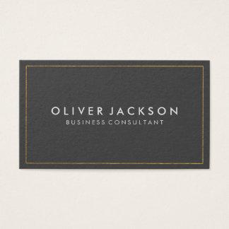 Gris simple con la frontera del oro tarjeta de visita