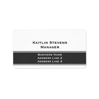 Gris simple llano profesional y blanco elegantes etiqueta de dirección