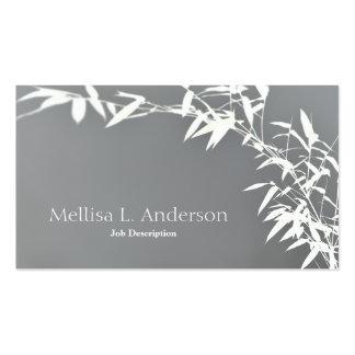 Gris y blanco de bambú del arbusto del zen tarjetas de visita