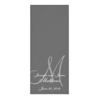 Gris y blanco del monograma del programa de la invitación 10,1 x 23,5 cm