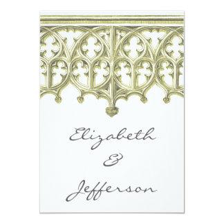 Gris y invitaciones del boda de la catedral de invitación 12,7 x 17,8 cm