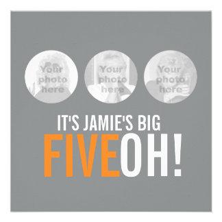 ¡Gris y naranja 50.os FIVEOH! el cumpleaños de la  Comunicados Personales