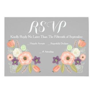 Gris y tarjetas florales de la respuesta de RSVP Invitación 8,9 X 12,7 Cm
