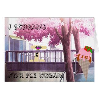 Grito para la actriz joven del helado tarjeta de felicitación