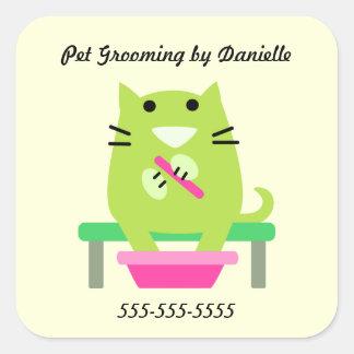 Groomer del mascota promocional pegatina cuadrada
