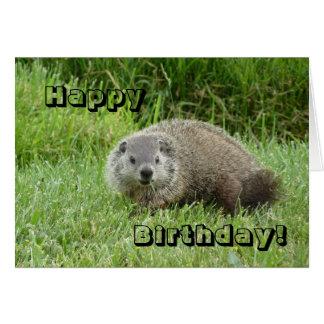 Groundhog del feliz cumpleaños tarjeta