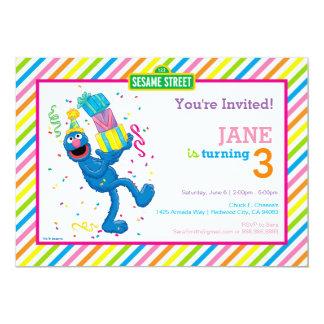 Grover rayó cumpleaños invitación 12,7 x 17,8 cm