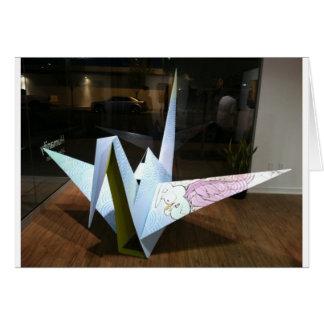 grúa del origami tarjeta