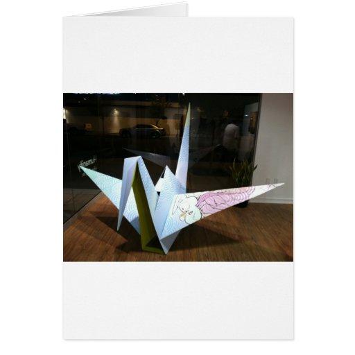 grúa del origami tarjetas