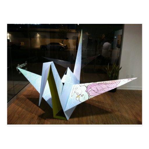 grúa del origami tarjeta postal