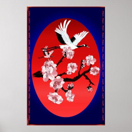 Grúa del vuelo y poste de Sun (fondo azul de media Poster