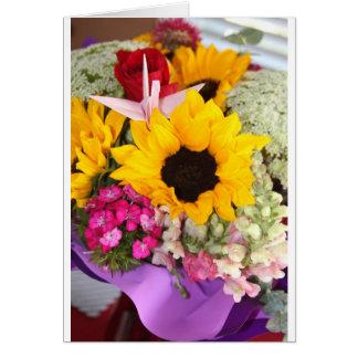 grúa floral del origami tarjeta de felicitación