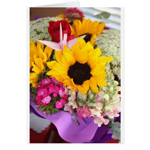 grúa floral del origami felicitaciones