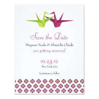 Grúas de Origami que casan reserva la fecha Invitación 10,8 X 13,9 Cm