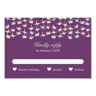 Grúas de papel colgantes de Origami (púrpuras) que Invitación 8,9 X 12,7 Cm