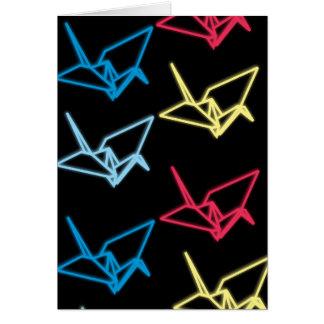 Grúas de papel de neón tarjeta de felicitación