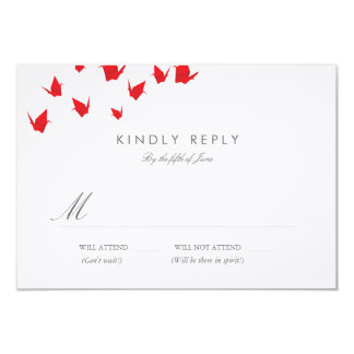 Grúas de papel de Origami que casan RSVP Invitación 8,9 X 12,7 Cm