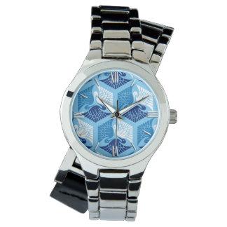 Grúas, marina de guerra, blanco, y azul claro relojes de pulsera