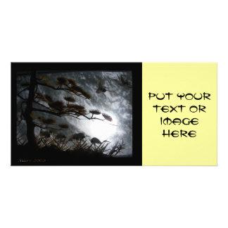 Grúas oscuras tarjetas fotograficas personalizadas