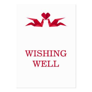 grúas rojas del origami que casan desear bien plantillas de tarjeta de negocio