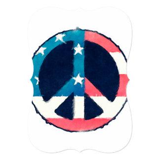 Grunge americano del signo de la paz invitación 12,7 x 17,8 cm