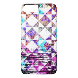 Grunge blanco del tablero de damas del diamante funda iPhone 7 plus