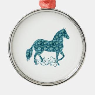 Grunge de Paso Fino HorseTeal floral Ornamento Para Arbol De Navidad