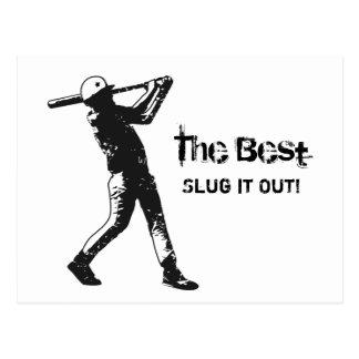 Grunge del negro del jugador de béisbol del postal