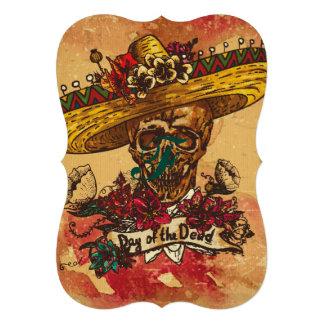 Grunge, Halloween, cráneo, gorra mexicano, día de Invitación 12,7 X 17,8 Cm