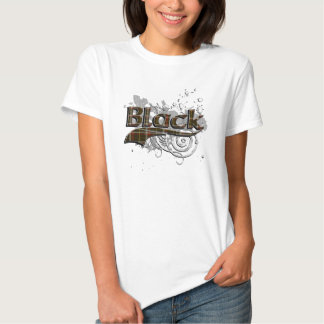 Grunge negro del tartán camiseta