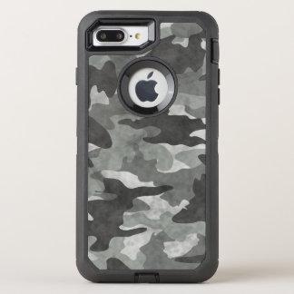 Grunge negro y modelo gris del camuflaje de Camo Funda OtterBox Defender Para iPhone 7 Plus