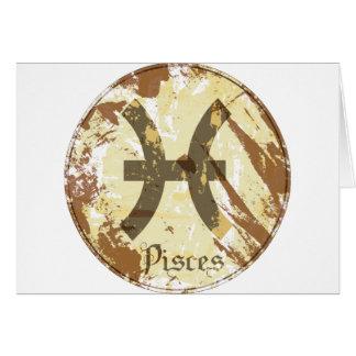 Grunge Piscis de la astrología Tarjeton
