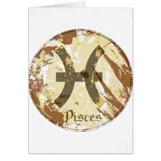 Grunge Piscis de la astrología Tarjetón