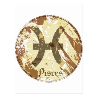 Grunge Piscis de la astrología Tarjeta Postal