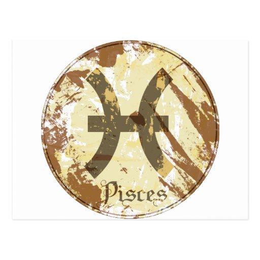 Grunge Piscis de la astrología Postal